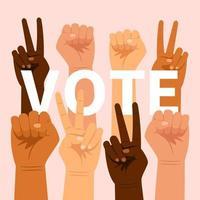 Abstimmung Schriftzug mit Handgesten