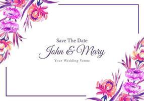 bunte Blumenrahmenkartenentwurf der Hochzeitseinladung vektor