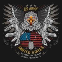 Adler und ein Maschinengewehr