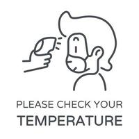 linjeikon som kontrollerar kroppstemperatur vektor