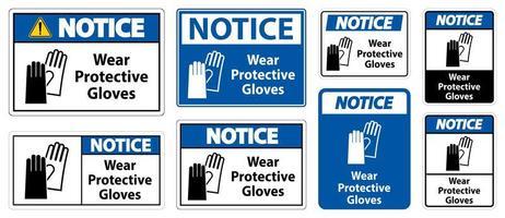 Schild mit Schutzhandschuhen tragen