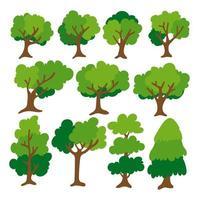 flacher Baum Symbolsatz. vektor