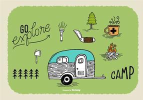 Handdragen Camper Doodle Vectors
