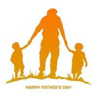glad fars dag med pappa och barn silhuett vektor