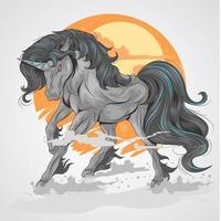 svarta enhörningar springer vektor