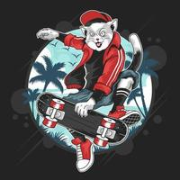 katt på ett skateboard