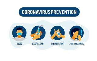 information om förebyggande av coronavirus vektor