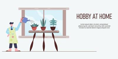man vattna växter hemma