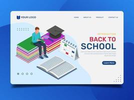utbildning målsida med man sitter på böcker