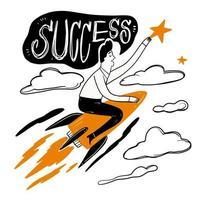 Mann reitet eine Rakete zum Erfolg vektor
