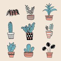 handgezeichnete Pflanzen in Töpfen vektor