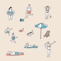 människor som gör olika aktiviteter på stranden vektor