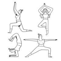 yogaövningar poserar i konturstil