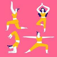 bunte Yoga-Übungen Pose Set vektor