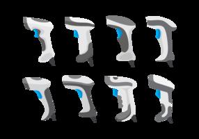 Streckkodsläsarens ikonuppsättning vektor