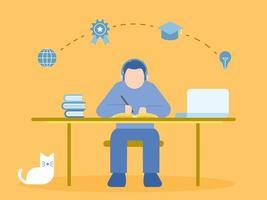 Mann sitzt am Schreibtisch und lernt im Online-Kurs mit Laptop vektor