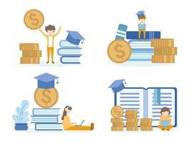 studenter som lär sig och investerar i online-utbildningskurser vektor