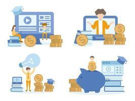 studenter som lär sig investeringskurser online vektor