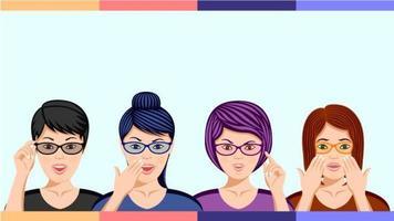 grupp kvinnor i glasögon i förvånande känslor