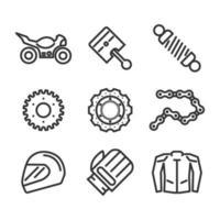 Motorrad Elemente Icon Set vektor