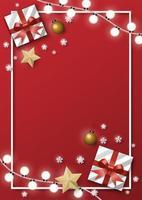 jul gratulationskort röda gränsen bakgrund vektor