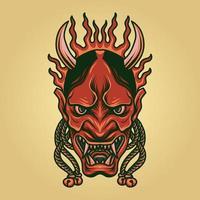 beängstigende Oni-Maske vektor