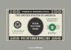 Kostenlose 100 Dollar Bill Vektor Vorlage