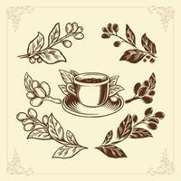 kaffe set hand ritning vintage stil