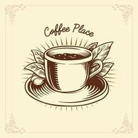 kaffe etikett ritning traditionella