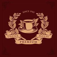 Logo Coffee Shop Premium Vektor Abzeichen Illustrationen