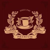 logotyp kafé shop premium vektor badge illustrationer