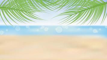 sommarstrand och palmer bakgrund vektor
