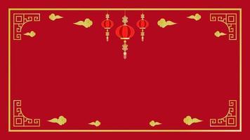 kinesiska nyår gyllene element och ram på rött vektor
