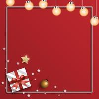 quadratische Weihnachtskarte mit Geschenk und Lichtern vektor