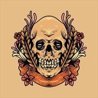 skalle och blommor design vektor