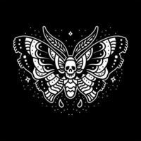 mörk fjärils tatuering design vektor