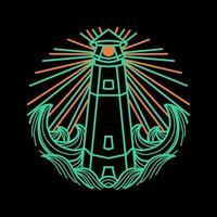 Leuchtturm Line Art Design vektor