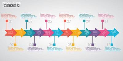 Timeline-Infografik mit 12 farbigen Pfeiloptionen vektor
