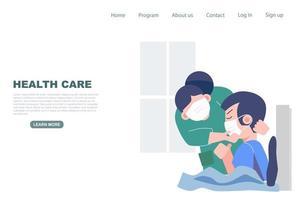 sjuksköterska som kontrollerar patienten på sjukhus vektor