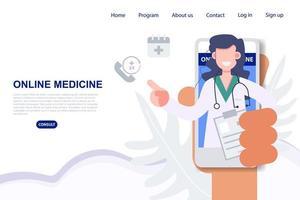 Hand hält Telefon mit Ärztin für Online-Rezept