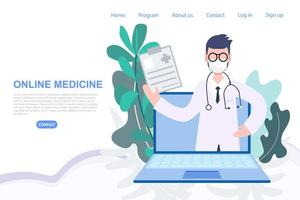 manlig läkare i laptop för online-receptbeställning vektor