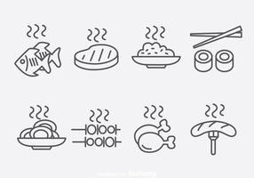 Umriss Essen Icons Vektor