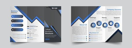 företags grå och blå tredubbla broschyrmall vektor