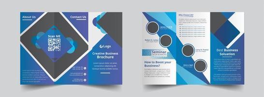 kreative blaue Farbverlauf dreifach Broschüre Vorlage vektor
