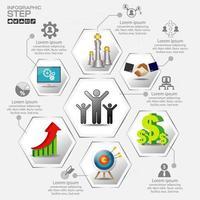 hexagon infographic med marknadsföring ikoner