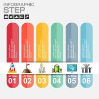 färgglada 6 steg papper infographic med marknadsföring ikoner