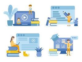 männliche, weibliche Studenten, die in Online-Kursen lesen und lernen vektor