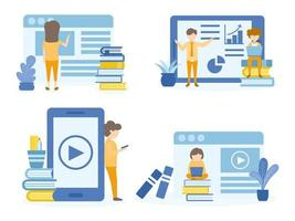 manliga, kvinnliga studenter som lär sig på onlinekurser vektor