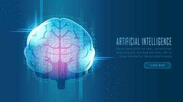 futuristic ai hjärnan dataanalys krets koncept