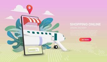 online shopping och leverans med flygkoncept vektor